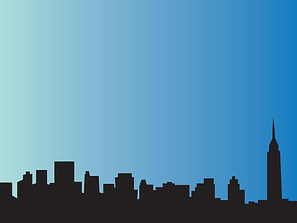 City. Blue background