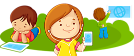 Children with tablets, phones